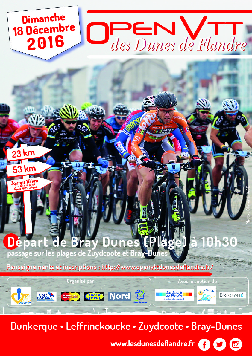 Gestion des participants, des inscriptions, retrait de dossards, chronométrie Open VTT Dunes de Flandre beachrace FFC Nord Pas de Calais 2016 + suivi live + impression plaques et dossards